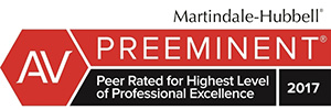 Martindale-Hubbell - AV Preeminent - Peer Rated for Highest LEvel of Professional Excellence 2017