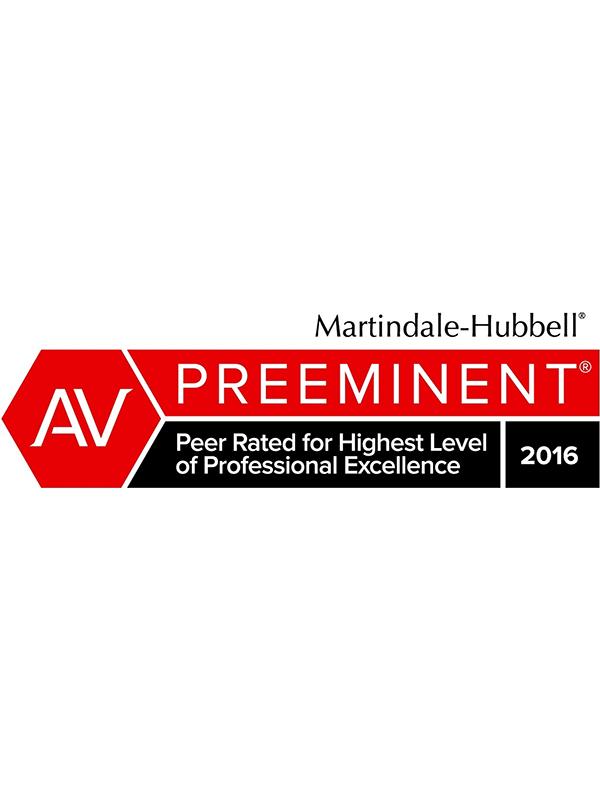 Martindale-Hubbell - AV Preeminent - Peer Rated for Highest Level of Professional Excellence 2016